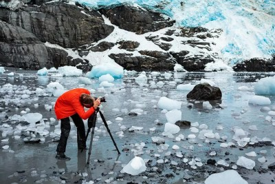 Photographing stranded icebergs in Harriman Fjord