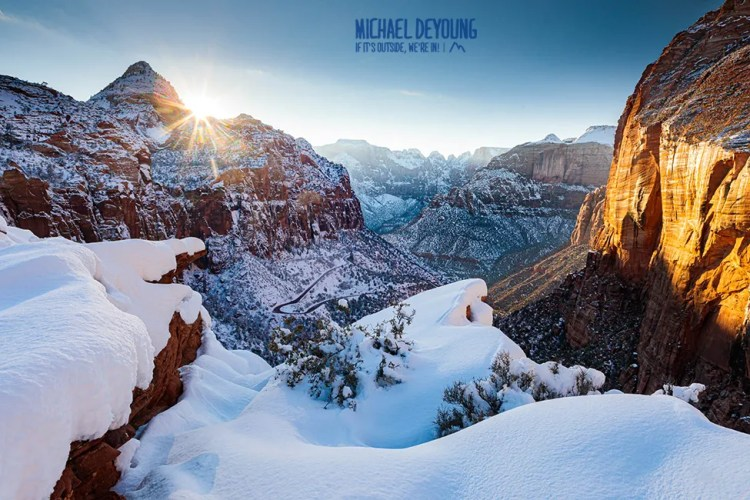 Winter Sunset over Zion Canyon - Zion National Park