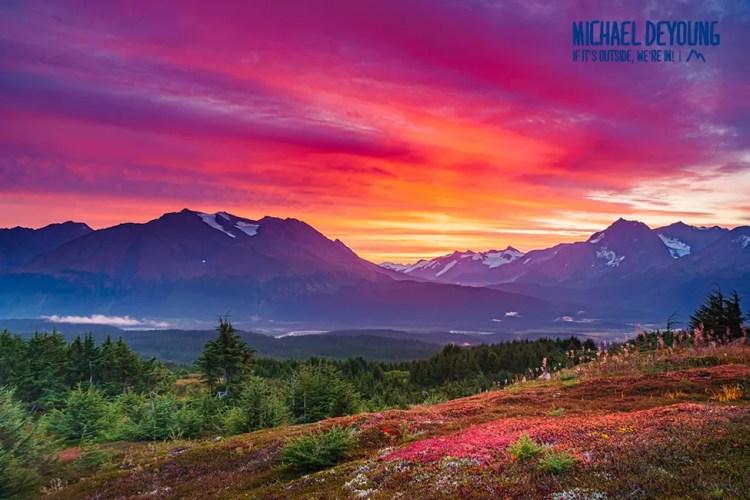 Blazing Sunrise over Kenai Mountains - Near Seward, Alaska