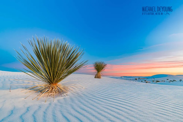 Sunset over White Sands National Monument (now National Park)