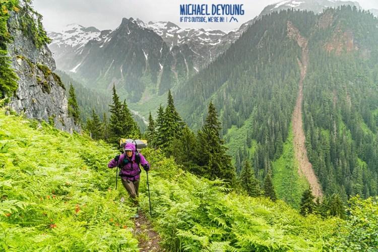 Hiking in the rain. Glacier Peak Wilderness.