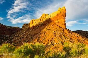 Golden light hitting the cliffs on Ghost Ranch - Abiquiu, New Mexico