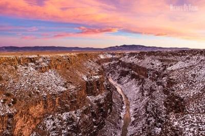 Pink sky over the Rio Grande Gorge
