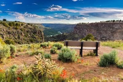 Bench overlooking Rio Grande & Rio Pueblo