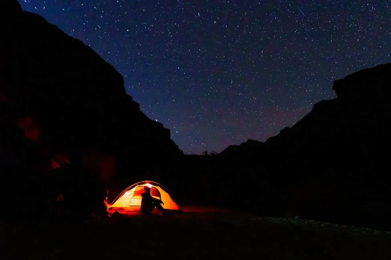 Stargazing from backpacking camp at Boucher Rapids along Colorado River.  Grand Canyon National Park, Arizona. aligncenter
