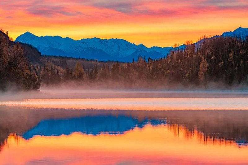 Fall sunrise on Alaska's Weiner Lake with cirrostratus clouds. © Michael DeYoung