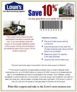 Free Lowes 10 Off Coupon Good for Savings Up to 1000