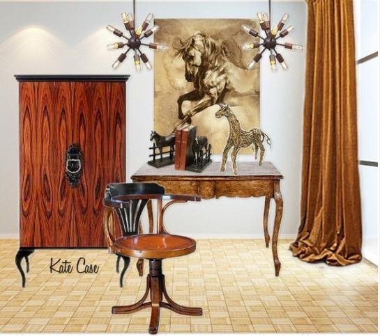 Home Office with Horse Theme by Kate Case