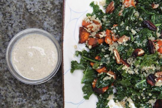 Warm Kale Sweet Potato Salad with Miso Ginger