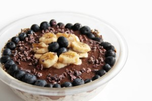 This chocolate banana trifle recipe is a great high protein vegan snack