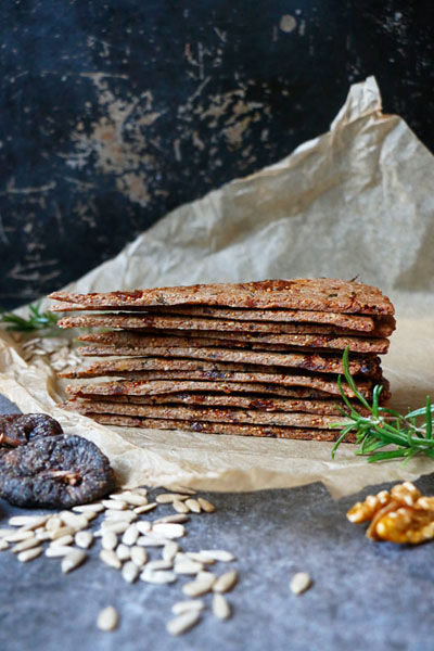 These are fig walnut rosemary crackers made by Active Vegetarian