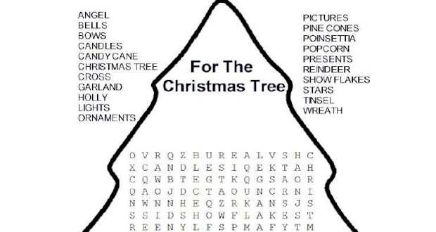 Christmas Tree Word Search ~ Activities For Kids