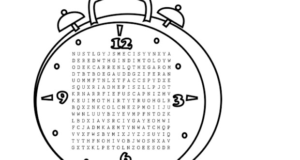 Time Word Search Printable for Kids