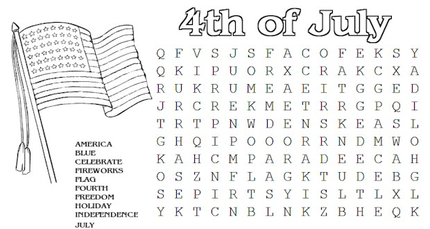 Printable July 4th Word Search for Kids