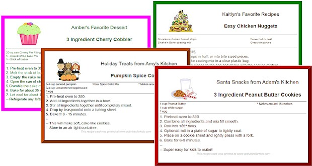 christmas recipe cards template