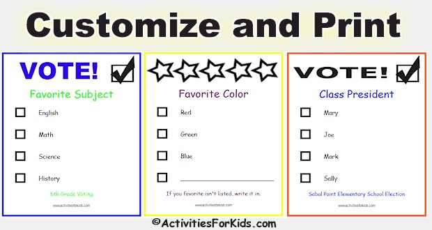 picture relating to Printable Voting Ballot Template named Free of charge Printable Ballots for Youngsters - Clroom Voting Ballot