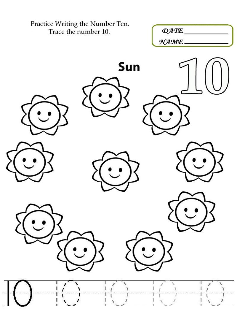 Number 10 Worksheets For Preschool  Activity Shelter