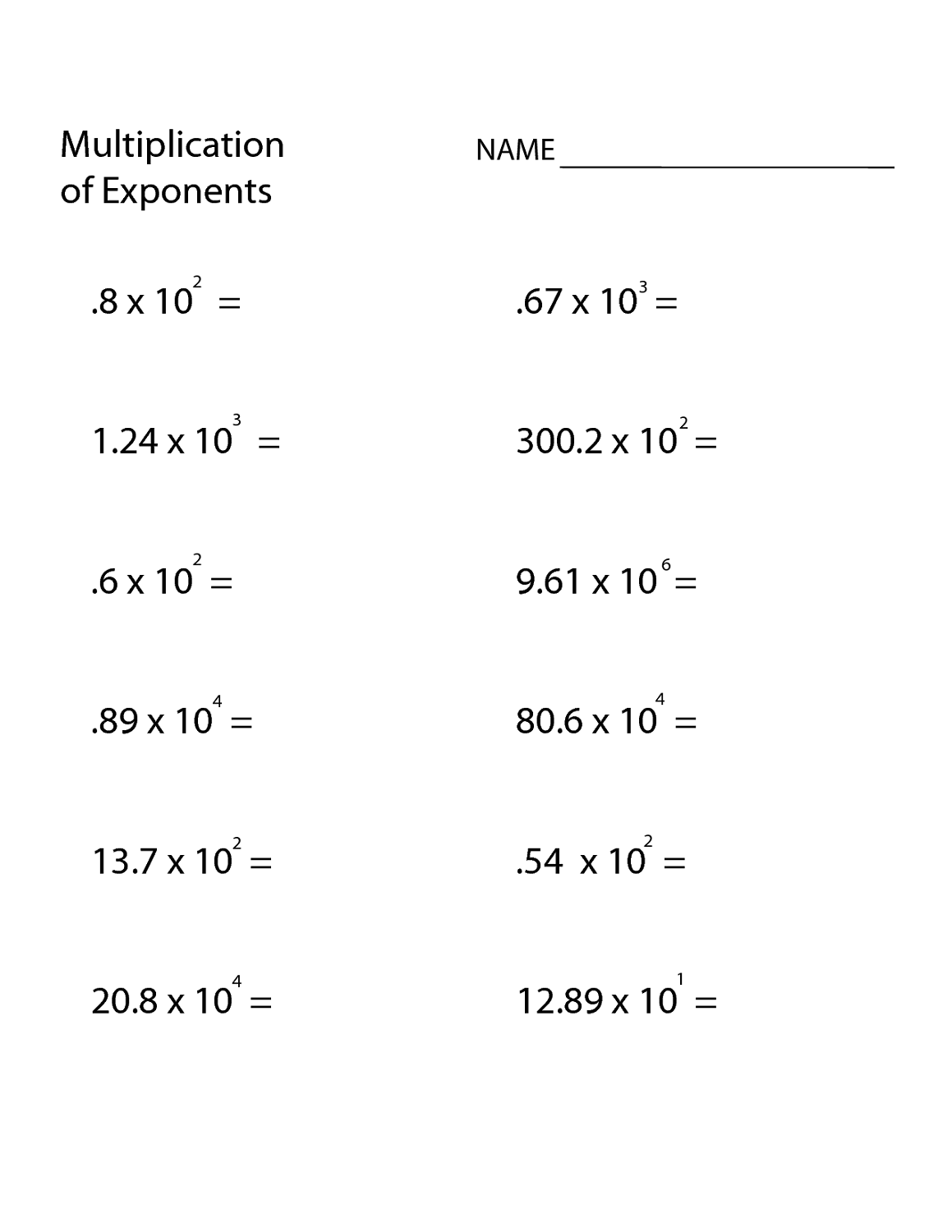 Free Math Problems Worksheets