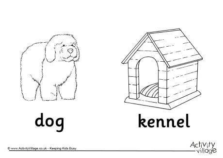 Dog and Kennel Colouring Page