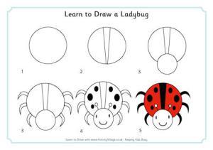 ladybug draw learn drawing animals tekenen step easy dibujos drawings ladybird simple animal shapes animales become member activity village guardado