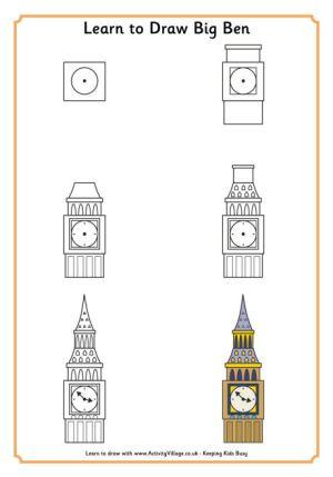 ben draw learn coloriage dessin drawing london simple village activity visuels monde maison arts zszywka tutorial become member facile malunki