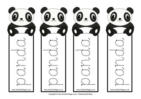 Panda Tracing Bookmarks