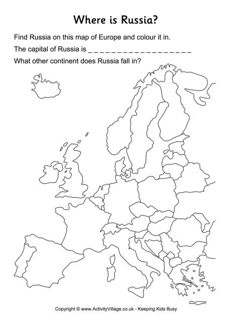 Russia Location Worksheet