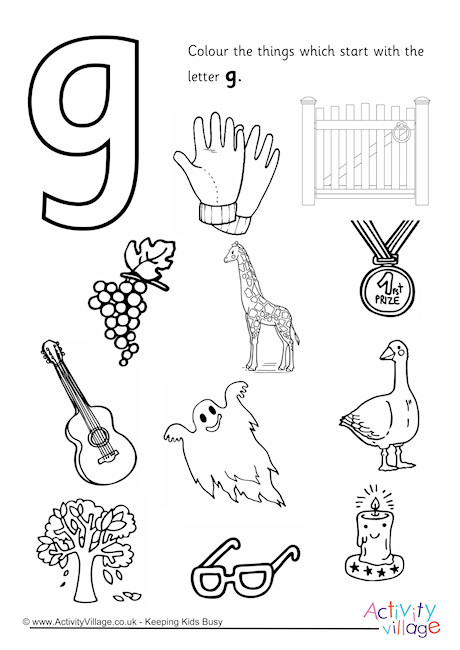 Start With The Letter G Colouring Page