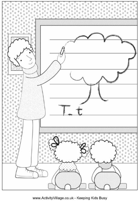 Teacher Colouring Page