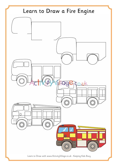 How To Draw A Fire Truck : truck, Learn, Engine