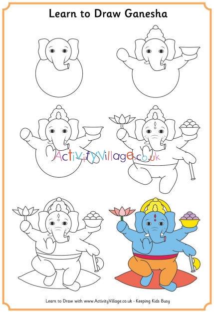 Ganesh Drawing For Kids : ganesh, drawing, Learn, Ganesha
