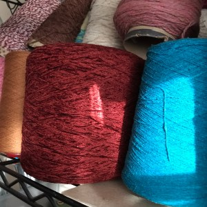 A variety of yarn on the shelf
