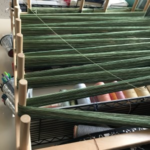 Green Warp going around the Warping Board