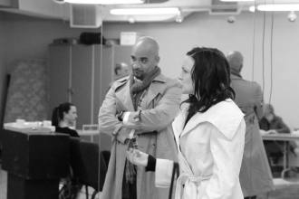 "Sammy Puebles and Amy McFadden rehearse ""God of Carnage"""