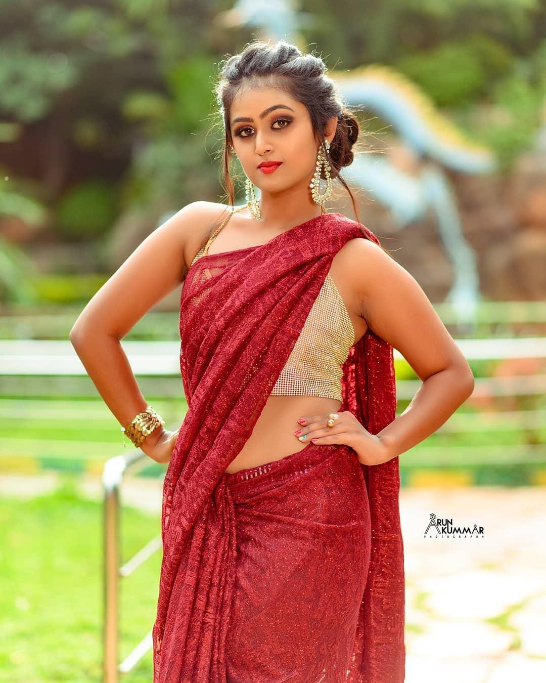 Kannada Model Sonu Surabhi Hot Photos In Red Saree - Actress Galaxy