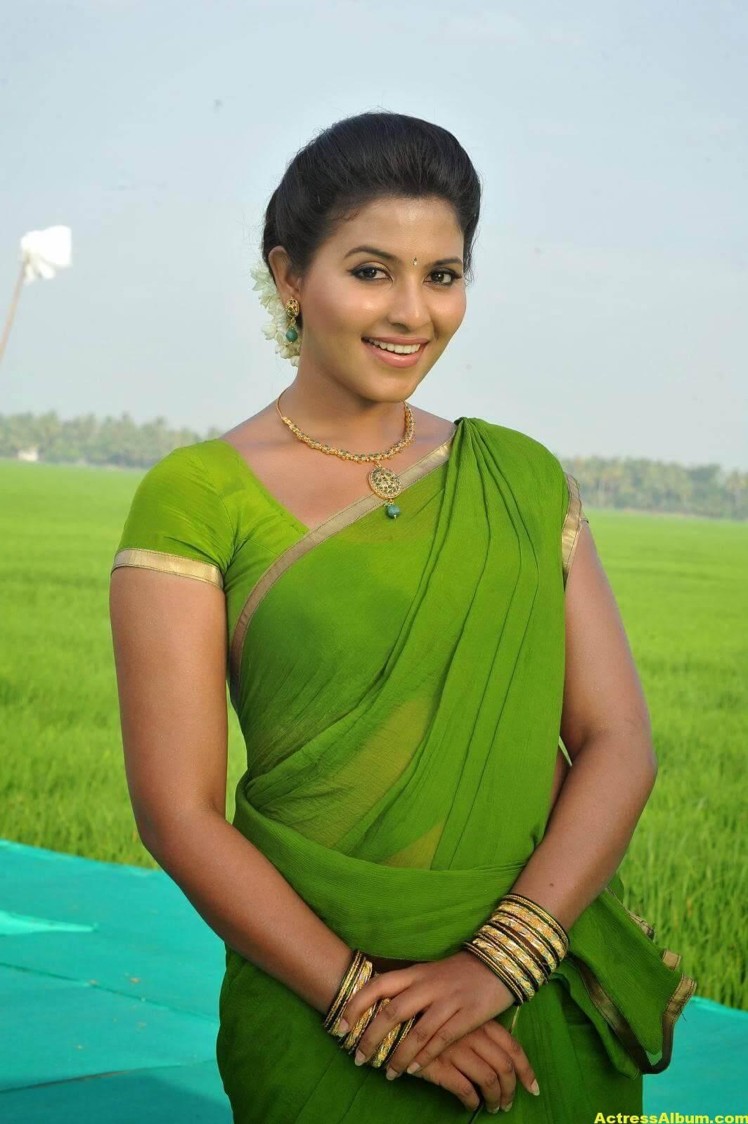 Meena Cute Wallpapers Anjali Cute Photos Stills In Spicy Green Saree Actress Album