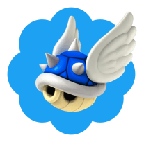Twitter blue-checkmark shape with Mario Kart blue shell on top