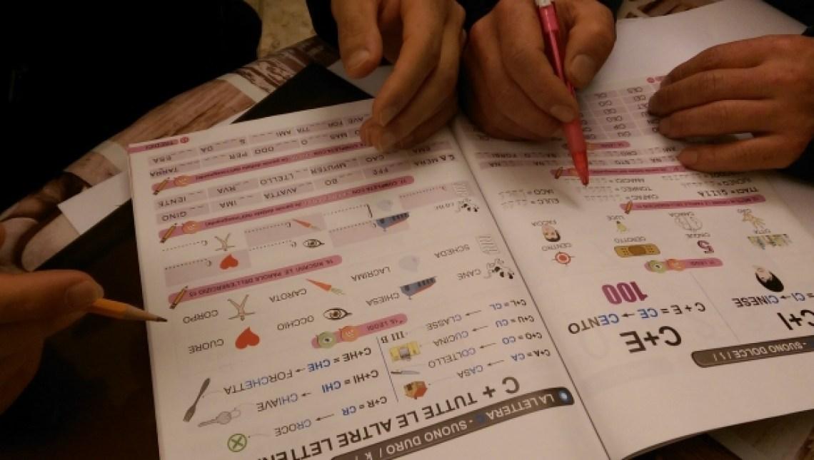 Refugees learning Italian at Soggiorno