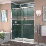 Encore Semi Frameless Shower Door And Base Center Drain Black Base