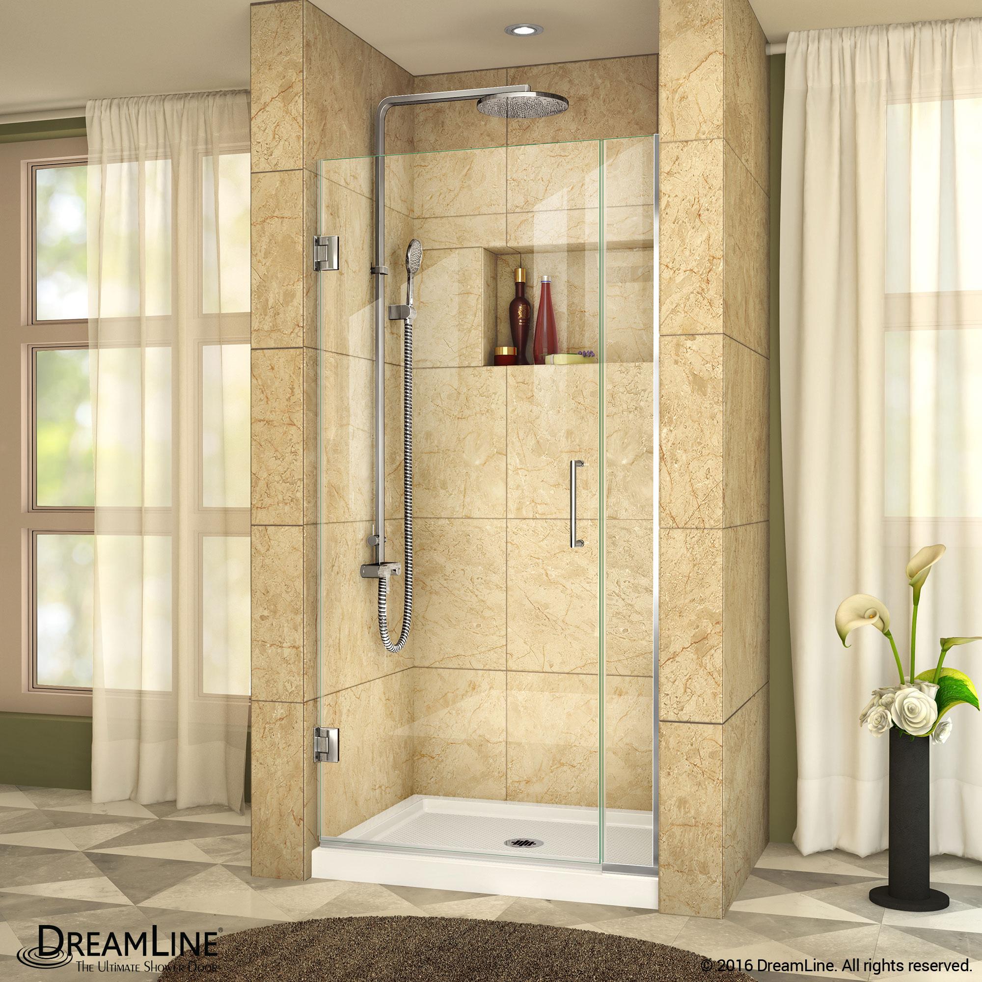 Unidoor Plus Shower Door 6 1 2 In Inline Panel Clear Glass 29 1 2 33 In