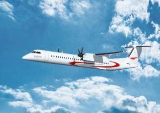 L'avion Q400 aux couleurs d'Abu Dhabi Aviation