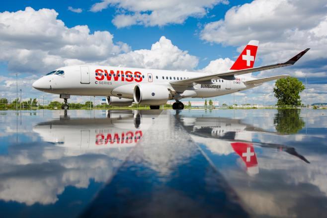 L'avion C Series aux couleurs de SWISS