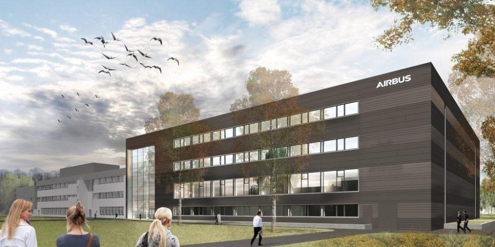 Vue du futur centre d'intégration satellites de friedrichshafen