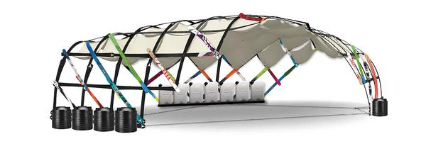 Un pavillon nomade construit avec de vieux skis – École polytechnique fédérale de Lausanne (EPFL)