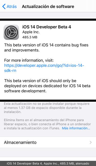 Beta 4 para desarrolladores de iOS 14