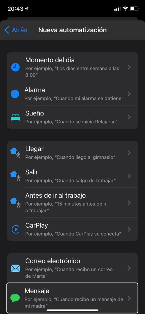 Captura de pantalla del proceso de automatización en Atajos