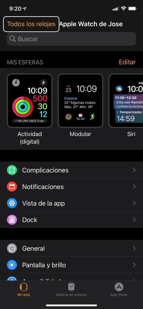 Captura de pantalla de la aplicación Watch en un iPhone