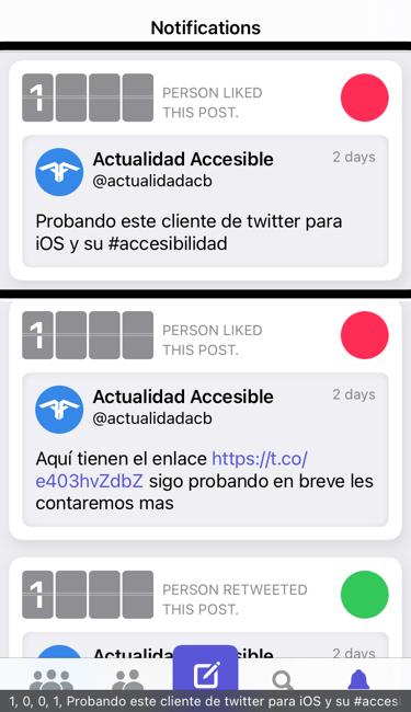Nighthawk for twitter: comentarios de su accesibilidad. En la imagen se muestra la pestaña de notificaciones y algunos tweets con pequeñas estadísticas