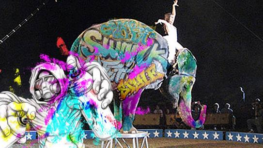 Bashir el elefante fué pintado por grafiteros bogotanos la noche del pasado lunes.