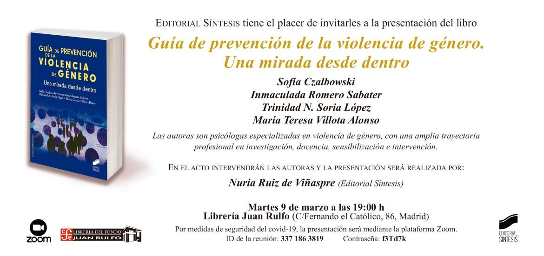El 9 de marzo se presenta el libro Guía de prevención de la violencia de género